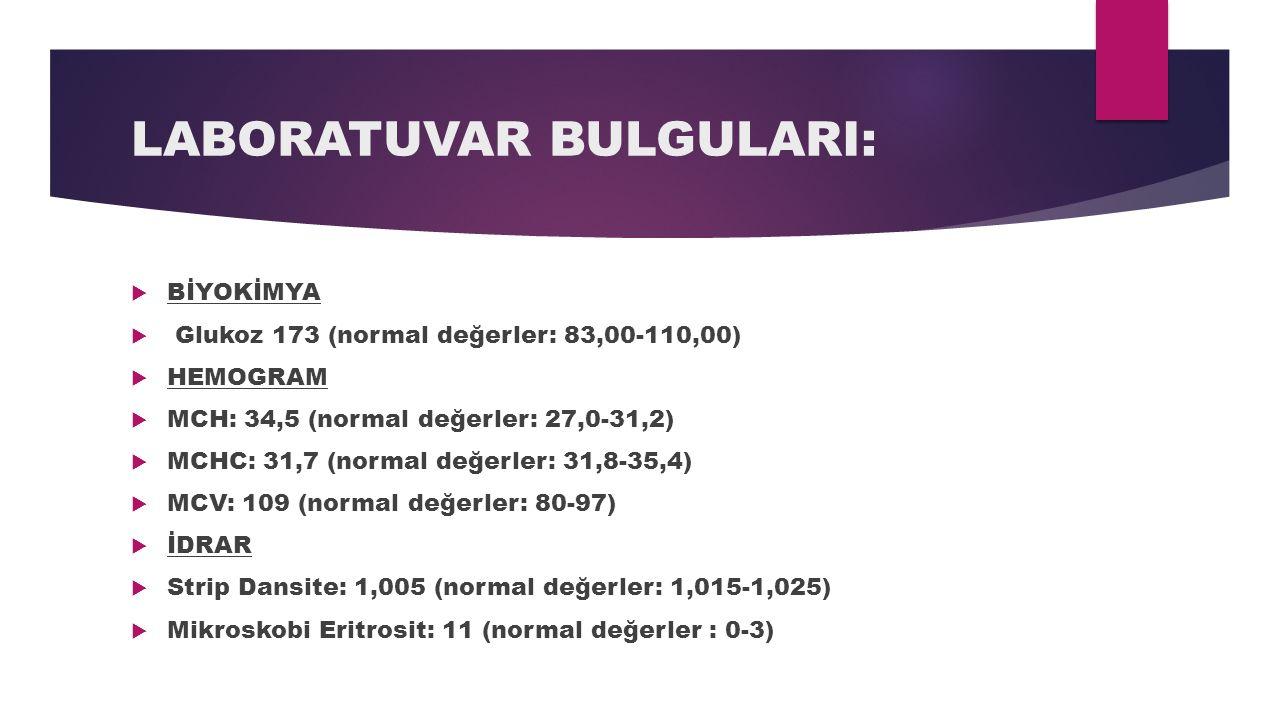 LABORATUVAR BULGULARI:  BİYOKİMYA  Glukoz 173 (normal değerler: 83,00-110,00)  HEMOGRAM  MCH: 34,5 (normal değerler: 27,0-31,2)  MCHC: 31,7 (norm