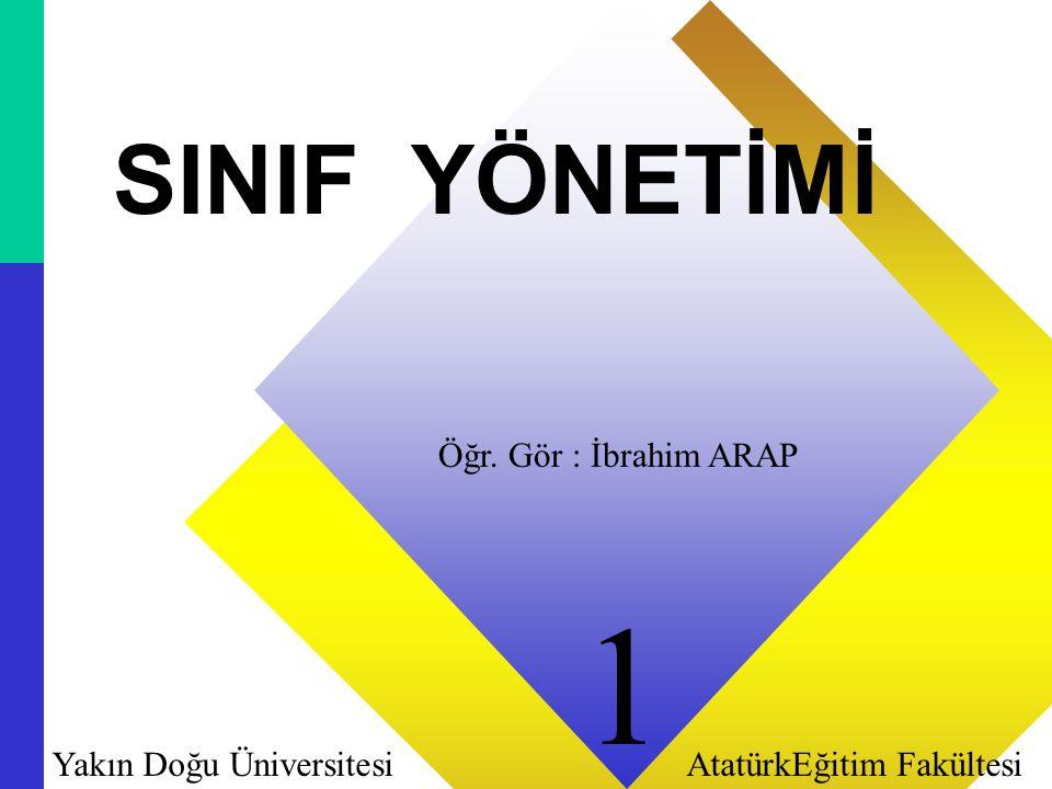 11 SINIF YÖNETİMİ Öğr. Gör : İbrahim ARAP Yakın Doğu Üniversitesi AtatürkEğitim Fakültesi 1