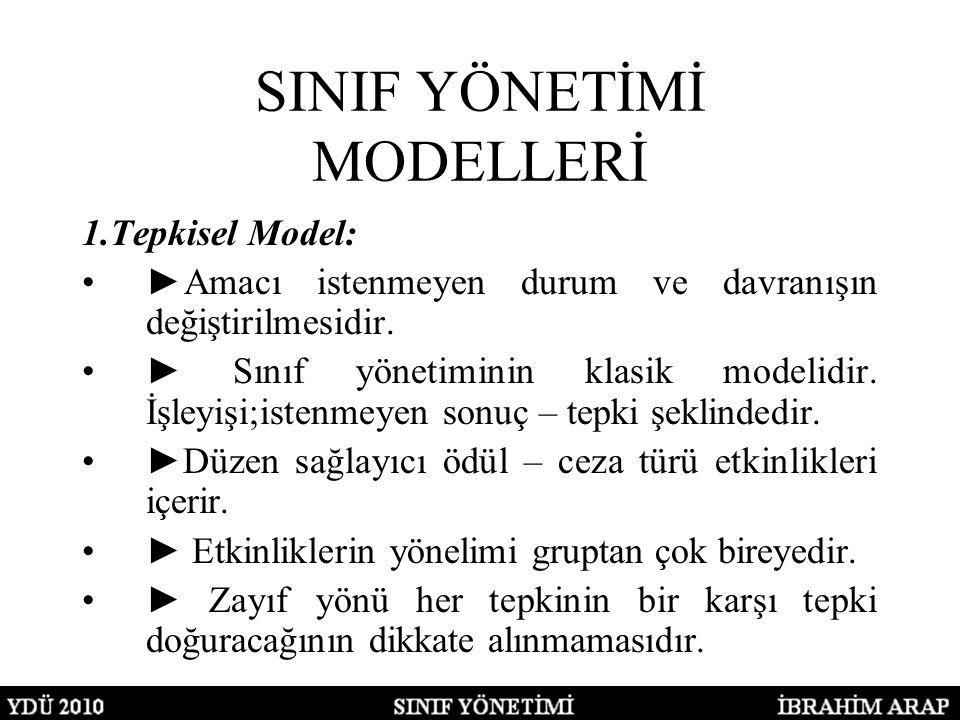 SINIF YÖNETİMİ MODELLERİ 1.Tepkisel Model: ►Amacı istenmeyen durum ve davranışın değiştirilmesidir. ► Sınıf yönetiminin klasik modelidir. İşleyişi;ist