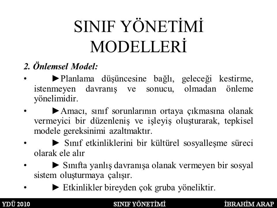 SINIF YÖNETİMİ MODELLERİ 2. Önlemsel Model: ►Planlama düşüncesine bağlı, geleceği kestirme, istenmeyen davranış ve sonucu, olmadan önleme yönelimidir.
