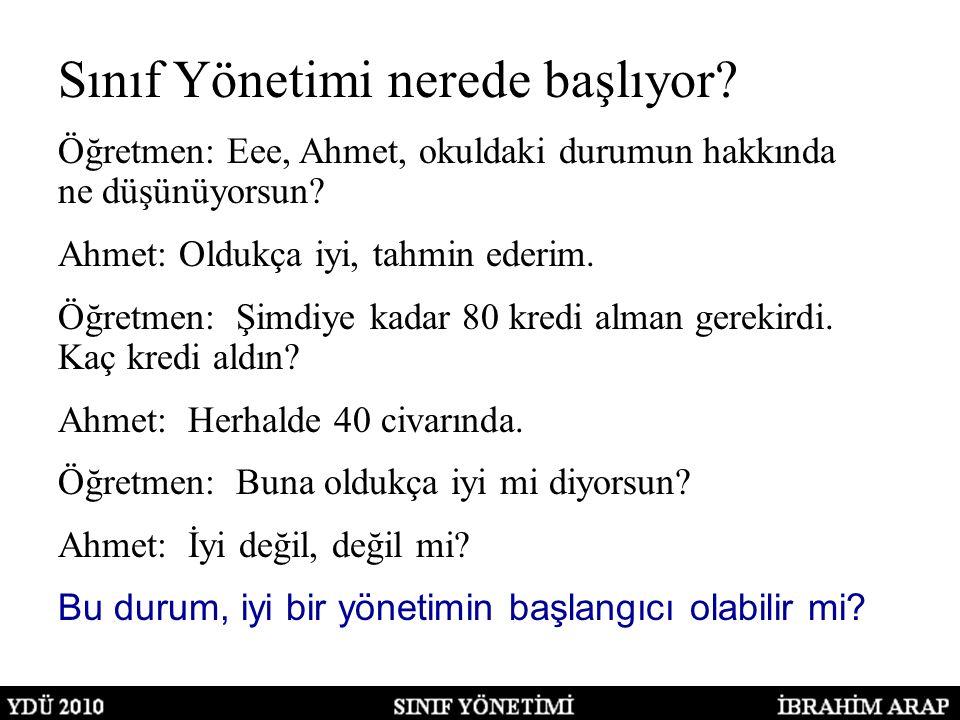 Sınıf Yönetimi nerede başlıyor. Öğretmen: Eee, Ahmet, okuldaki durumun hakkında ne düşünüyorsun.