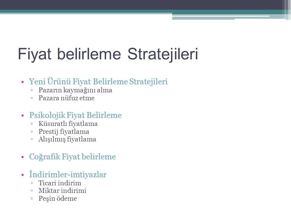 Fiyat belirleme Stratejileri Yeni Ürünü Fiyat Belirleme StratejileriYeni Ürünü Fiyat Belirleme Stratejileri ▫Pazarın kaymağını alma ▫Pazara nüfuz etme Psikolojik Fiyat BelirlemePsikolojik Fiyat Belirleme ▫Küsuratlı fiyatlama ▫Prestij fiyatlama ▫Alışılmış fiyatlama Coğrafik Fiyat belirlemeCoğrafik Fiyat belirleme İndirimler-imtiyazlarİndirimler-imtiyazlar ▫Ticari indirim ▫Miktar indirimi ▫Peşin ödeme