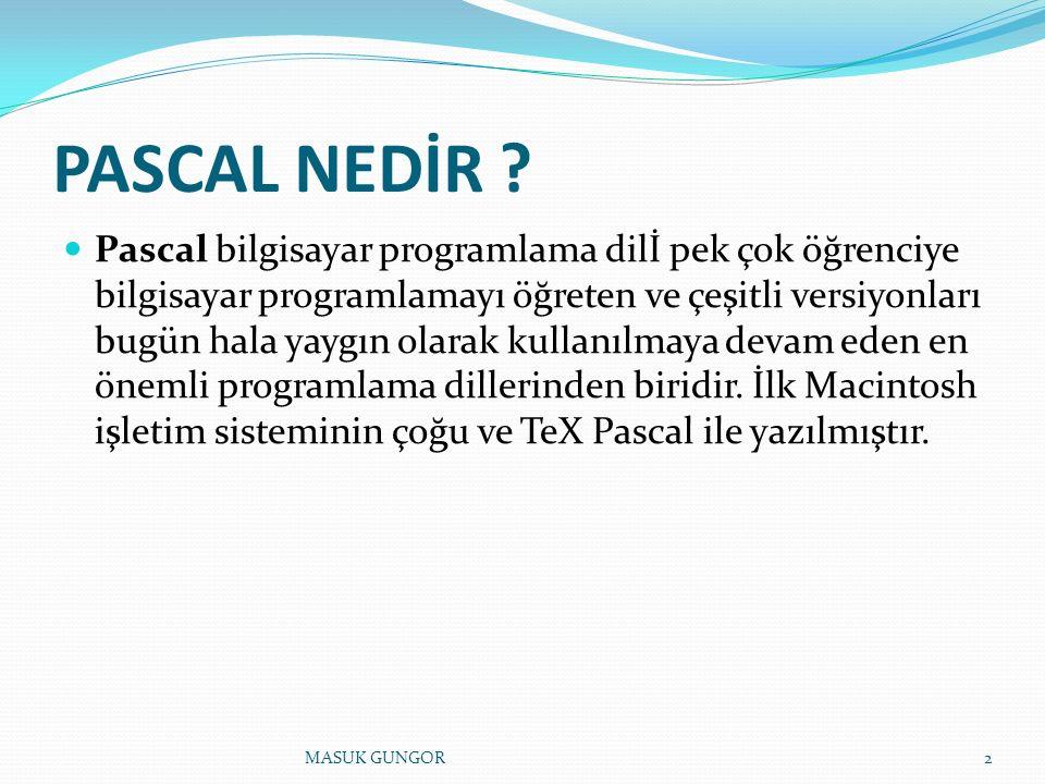 PASCAL NEDİR .