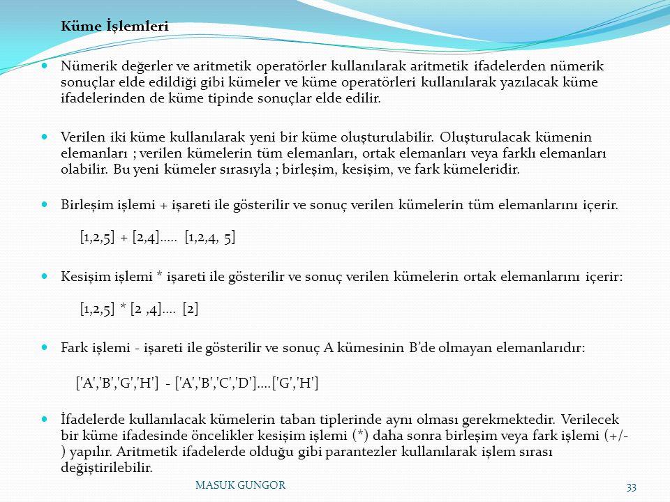 Küme İşlemleri Nümerik değerler ve aritmetik operatörler kullanılarak aritmetik ifadelerden nümerik sonuçlar elde edildiği gibi kümeler ve küme operat