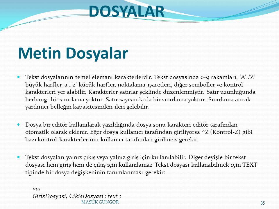DOSYALAR Metin Dosyalar Tekst dosyalarının temel elemanı karakterlerdir.