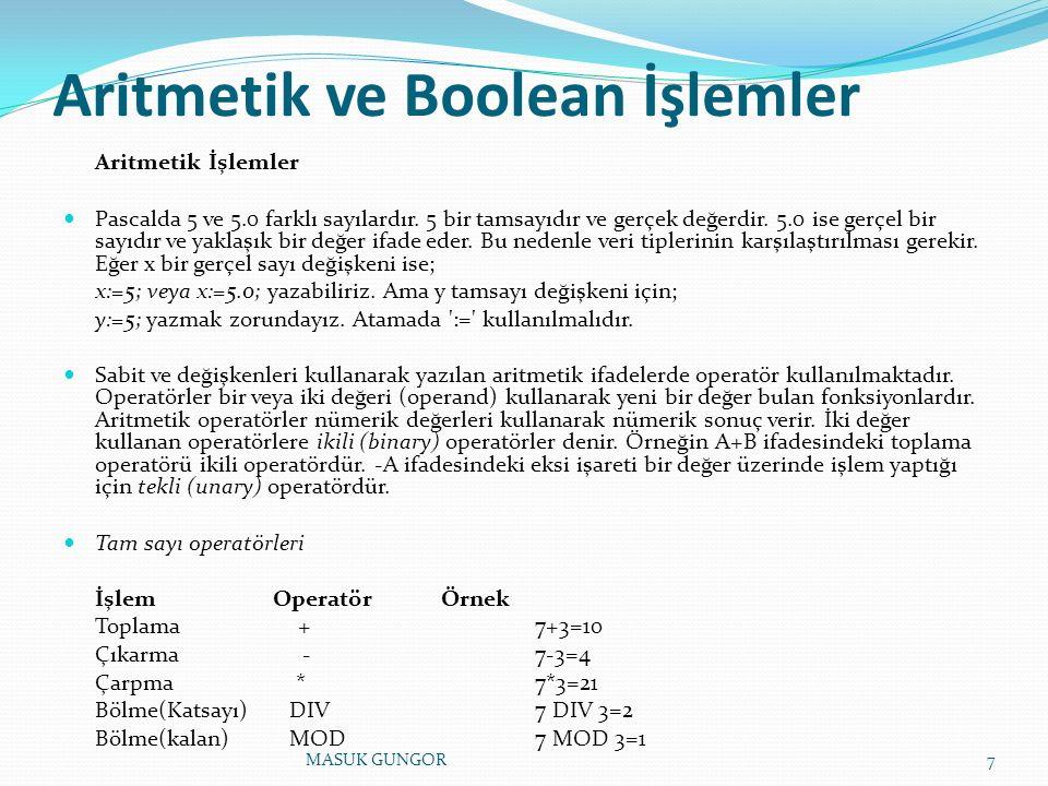 Aritmetik ve Boolean İşlemler Aritmetik İşlemler Pascalda 5 ve 5.0 farklı sayılardır. 5 bir tamsayıdır ve gerçek değerdir. 5.0 ise gerçel bir sayıdır