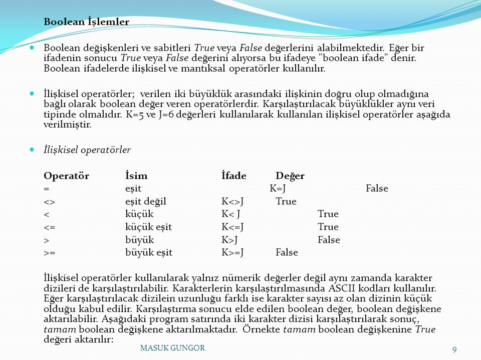 Boolean İşlemler Boolean değişkenleri ve sabitleri True veya False değerlerini alabilmektedir. Eğer bir ifadenin sonucu True veya False değerini alıyo