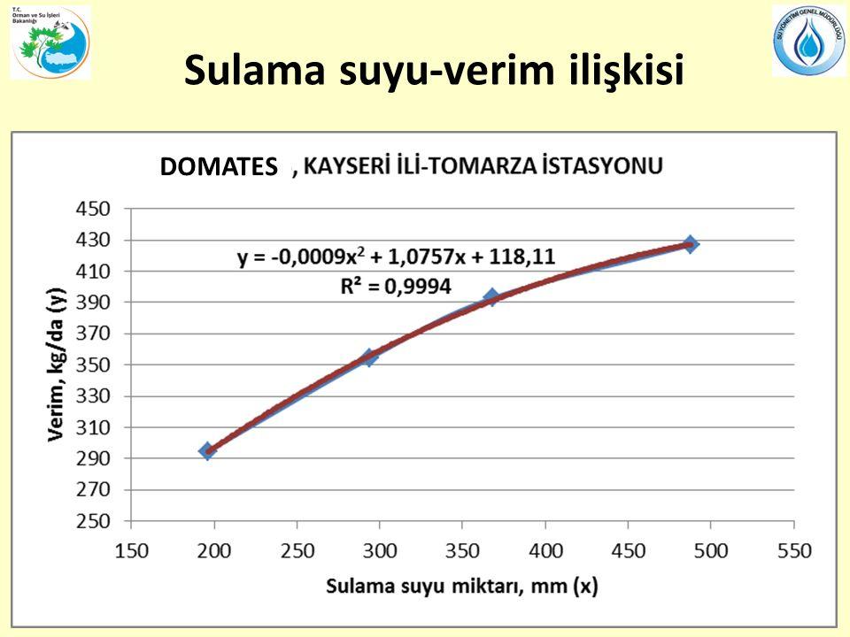 Sulama suyu-verim ilişkisi DOMATES