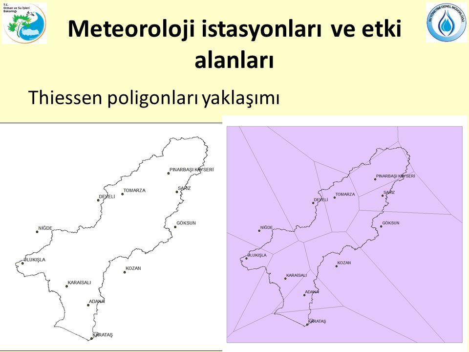 Meteoroloji istasyonları ve etki alanları Thiessen poligonları yaklaşımı