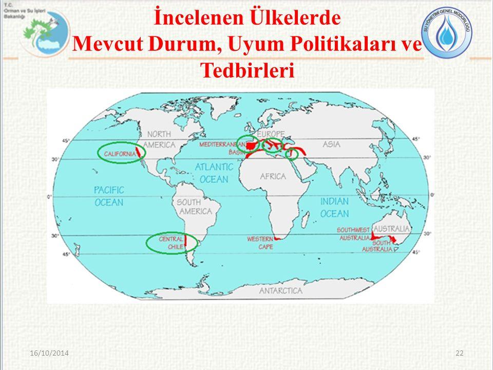 İncelenen Ülkelerde Mevcut Durum, Uyum Politikaları ve Tedbirleri 16/10/201422