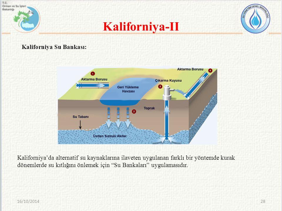 16/10/201428 Kaliforniya-II Kaliforniya'da alternatif su kaynaklarına ilaveten uygulanan farklı bir yöntemde kurak dönemlerde su kıtlığını önlemek içi