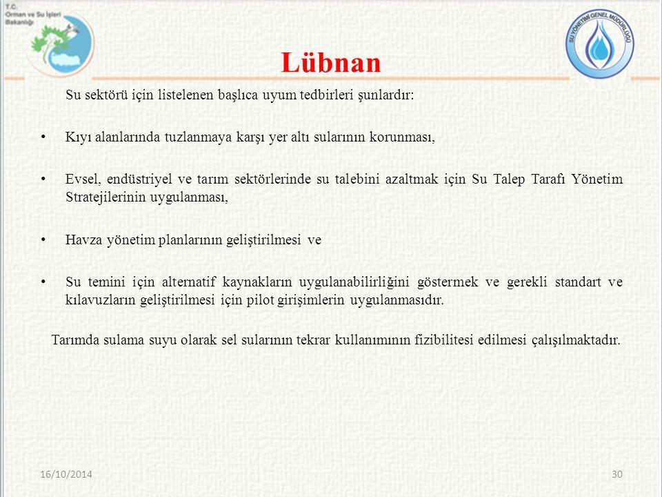 Lübnan Su sektörü için listelenen başlıca uyum tedbirleri şunlardır: Kıyı alanlarında tuzlanmaya karşı yer altı sularının korunması, Evsel, endüstriye