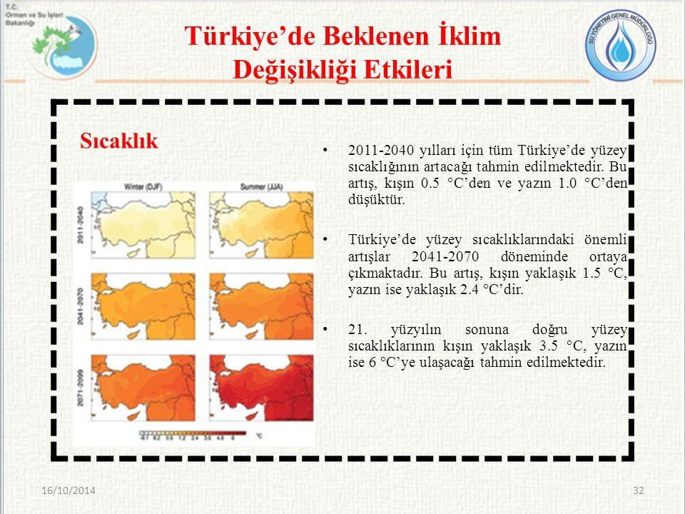 Türkiye'de Beklenen İklim Değişikliği Etkileri 2011-2040 yılları için tüm Türkiye'de yüzey sıcaklığının artacağı tahmin edilmektedir. Bu artış, kışın