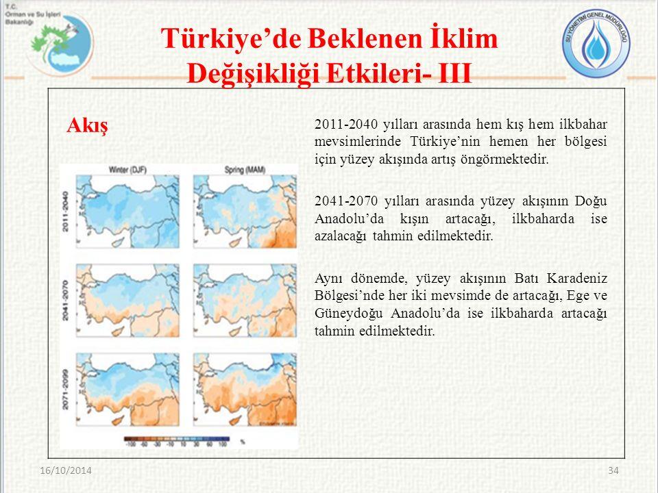 2011-2040 yılları arasında hem kış hem ilkbahar mevsimlerinde Türkiye'nin hemen her bölgesi için yüzey akışında artış öngörmektedir. 2041-2070 yılları