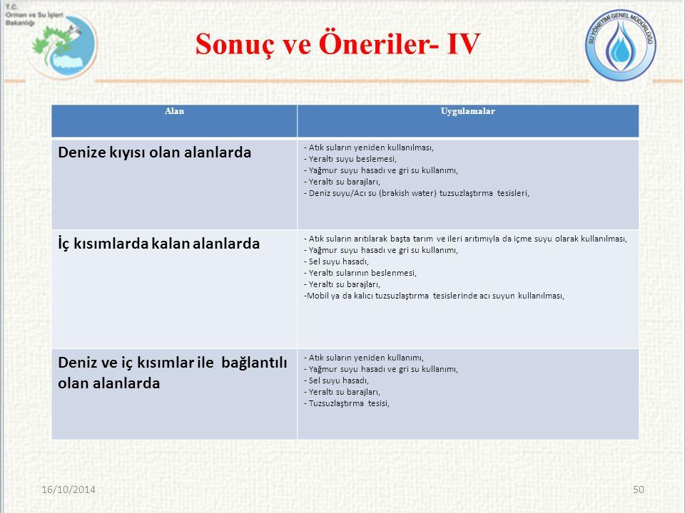16/10/201450 Sonuç ve Öneriler- IV AlanUygulamalar Denize kıyısı olan alanlarda - Atık suların yeniden kullanılması, - Yeraltı suyu beslemesi, - Yağmu