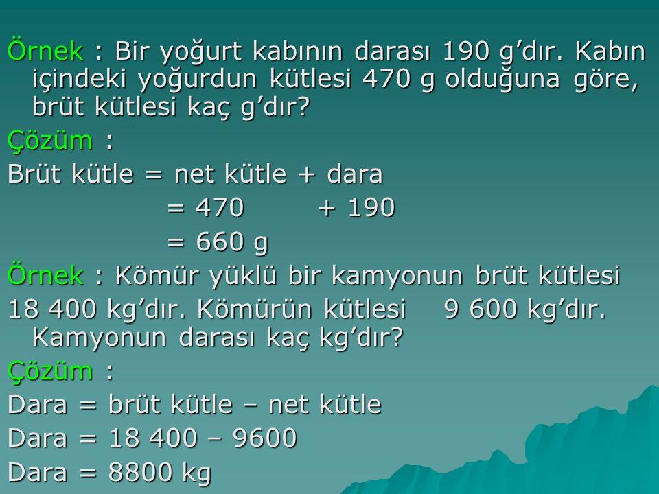 Örnek : Bir yoğurt kabının darası 190 g'dır.