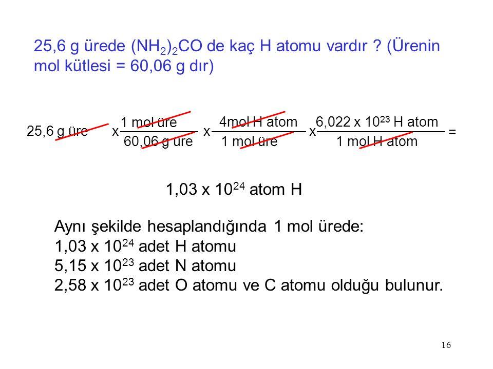 16 25,6 g ürede (NH 2 ) 2 CO de kaç H atomu vardır ? (Ürenin mol kütlesi = 60,06 g dır) 1,03 x 10 24 atom H 25,6 g üre 1 mol üre 60,06 g üre x 4mol H