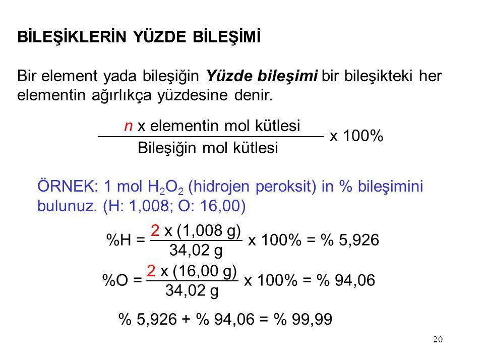 20 BİLEŞİKLERİN YÜZDE BİLEŞİMİ Bir element yada bileşiğin Yüzde bileşimi bir bileşikteki her elementin ağırlıkça yüzdesine denir. n x elementin mol kü