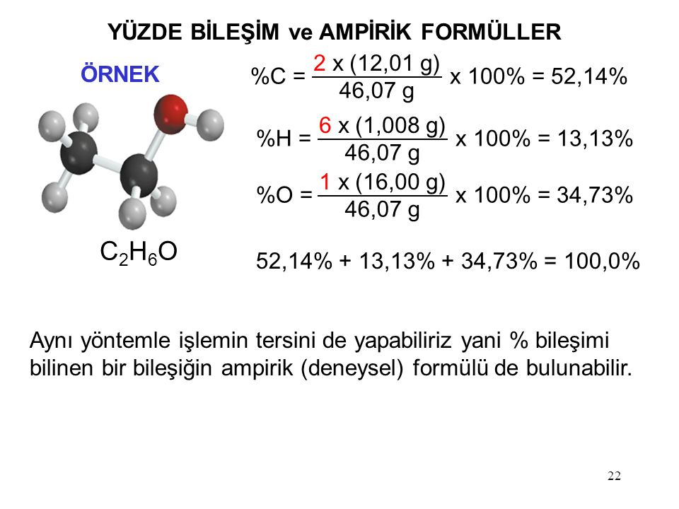 22 C2H6OC2H6O %C = 2 x (12,01 g) 46,07 g x 100% = 52,14%H = 6 x (1,008 g) 46,07 g x 100% = 13,13%O = 1 x (16,00 g) 46,07 g x 100% = 34,73% 52,14% + 13