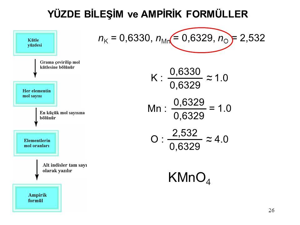 26 K : ~ ~ 1.0 0,6330 0,6329 Mn : 0,6329 = 1.0 O : ~ ~ 4.0 2,532 0,6329 n K = 0,6330, n Mn = 0,6329, n O = 2,532 KMnO 4 YÜZDE BİLEŞİM ve AMPİRİK FORMÜ