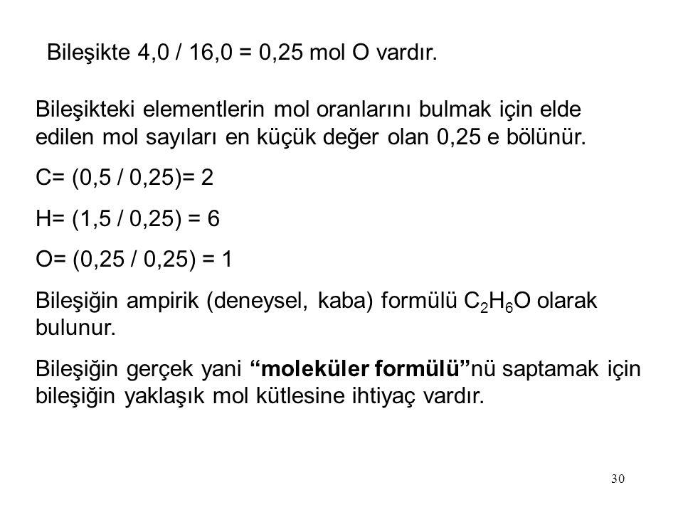30 Bileşikte 4,0 / 16,0 = 0,25 mol O vardır. Bileşikteki elementlerin mol oranlarını bulmak için elde edilen mol sayıları en küçük değer olan 0,25 e b