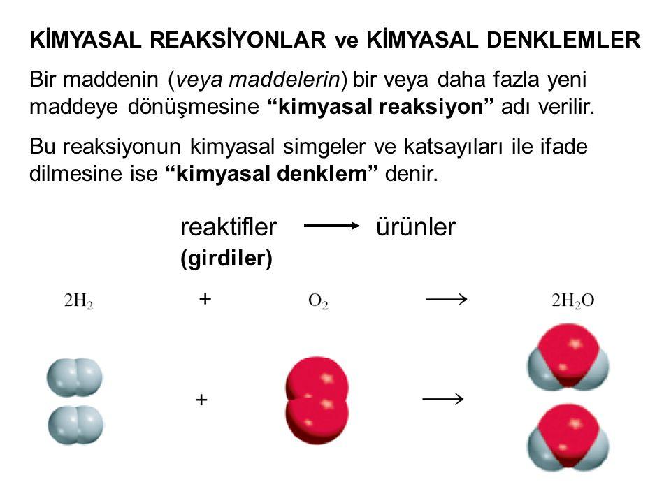"""32 KİMYASAL REAKSİYONLAR ve KİMYASAL DENKLEMLER reaktiflerürünler Bir maddenin (veya maddelerin) bir veya daha fazla yeni maddeye dönüşmesine """"kimyasa"""