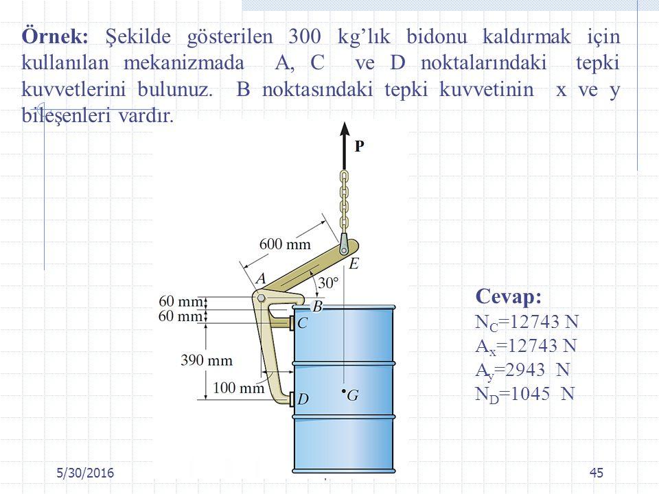 5/30/2016Chapter 645 Örnek: Şekilde gösterilen 300 kg'lık bidonu kaldırmak için kullanılan mekanizmada A, C ve D noktalarındaki tepki kuvvetlerini bul