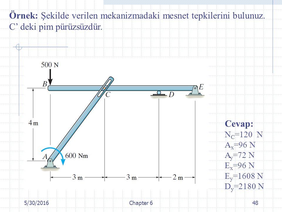 5/30/2016Chapter 648 Örnek: Şekilde verilen mekanizmadaki mesnet tepkilerini bulunuz. C' deki pim pürüzsüzdür. Cevap: N C =120 N A x =96 N A y =72 N E