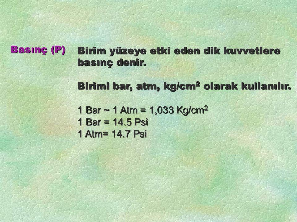 Birim yüzeye etki eden dik kuvvetlere basınç denir. Birimi bar, atm, kg/cm 2 olarak kullanılır. 1 Bar ~ 1 Atm = 1,033 Kg/cm 2 1 Bar = 14.5 Psi 1 Atm=
