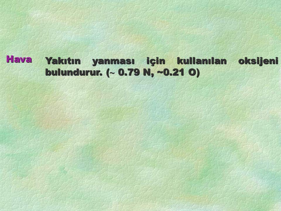 Yakıtın yanması için kullanılan oksijeni bulundurur. (  0.79 N, ~0.21 O) Hava