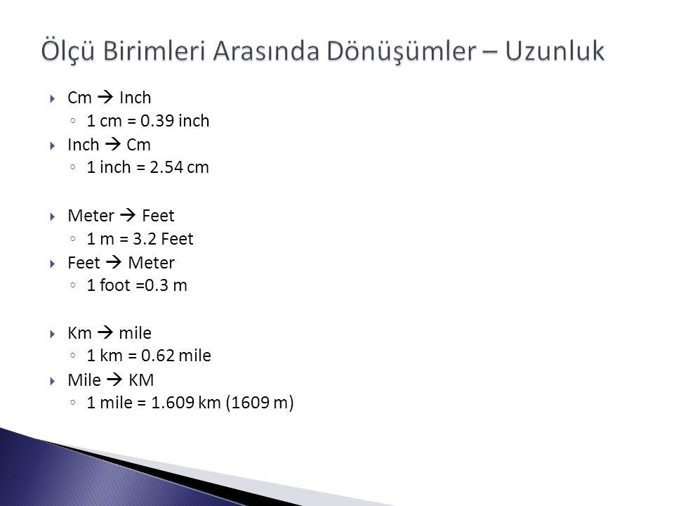  Cm  Inch ◦ 1 cm = 0.39 inch  Inch  Cm ◦ 1 inch = 2.54 cm  Meter  Feet ◦ 1 m = 3.2 Feet  Feet  Meter ◦ 1 foot =0.3 m  Km  mile ◦ 1 km = 0.62 mile  Mile  KM ◦ 1 mile = 1.609 km (1609 m)