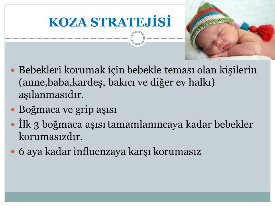 KOZA STRATEJİSİ Bebekleri korumak için bebekle teması olan kişilerin (anne,baba,kardeş, bakıcı ve diğer ev halkı) aşılanmasıdır. Boğmaca ve grip aşısı