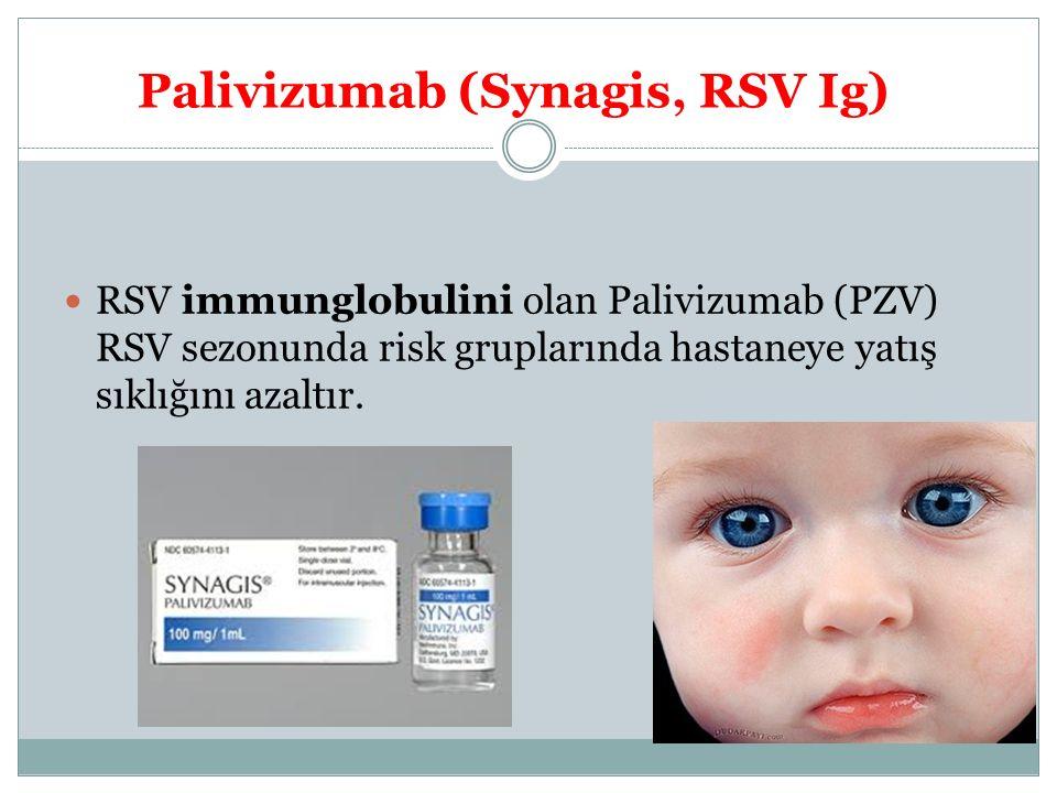 Palivizumab (Synagis, RSV Ig) RSV immunglobulini olan Palivizumab (PZV) RSV sezonunda risk gruplarında hastaneye yatış sıklığını azaltır.