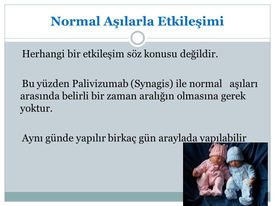 Normal Aşılarla Etkileşimi Herhangi bir etkileşim söz konusu değildir. Bu yüzden Palivizumab (Synagis) ile normal aşıları arasında belirli bir zaman a