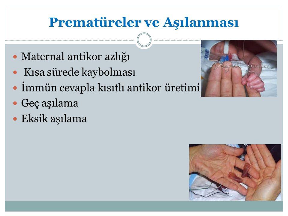 Prematüreler ve Aşılanması Maternal antikor azlığı Kısa sürede kaybolması İmmün cevapla kısıtlı antikor üretimi Geç aşılama Eksik aşılama