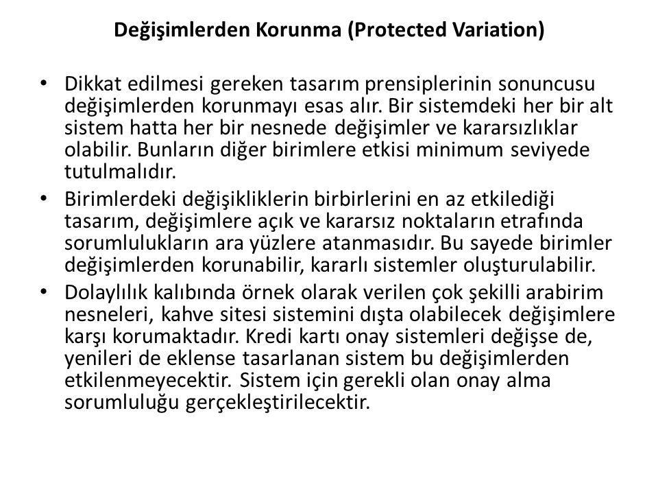 Değişimlerden Korunma (Protected Variation) Dikkat edilmesi gereken tasarım prensiplerinin sonuncusu değişimlerden korunmayı esas alır.