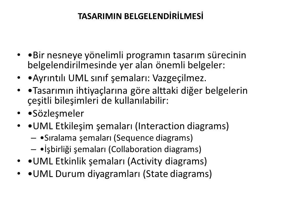 TASARIMIN BELGELENDİRİLMESİ Bir nesneye yönelimli programın tasarım sürecinin belgelendirilmesinde yer alan önemli belgeler: Ayrıntılı UML sınıf şemaları: Vazgeçilmez.