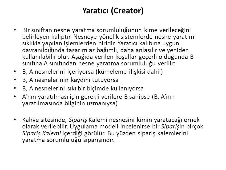 Yaratıcı (Creator) Bir sınıftan nesne yaratma sorumluluğunun kime verileceğini belirleyen kalıptır.