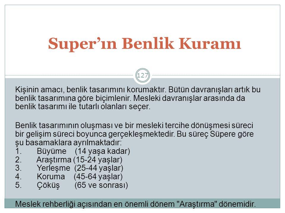 127 Super'ın Benlik Kuramı Kişinin amacı, benlik tasarımını korumaktır.
