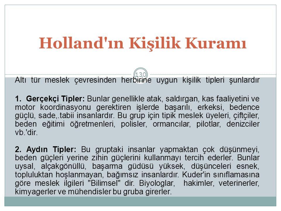 130 Holland ın Kişilik Kuramı Altı tür meslek çevresinden herbirine uygun kişilik tipleri şunlardır 1.