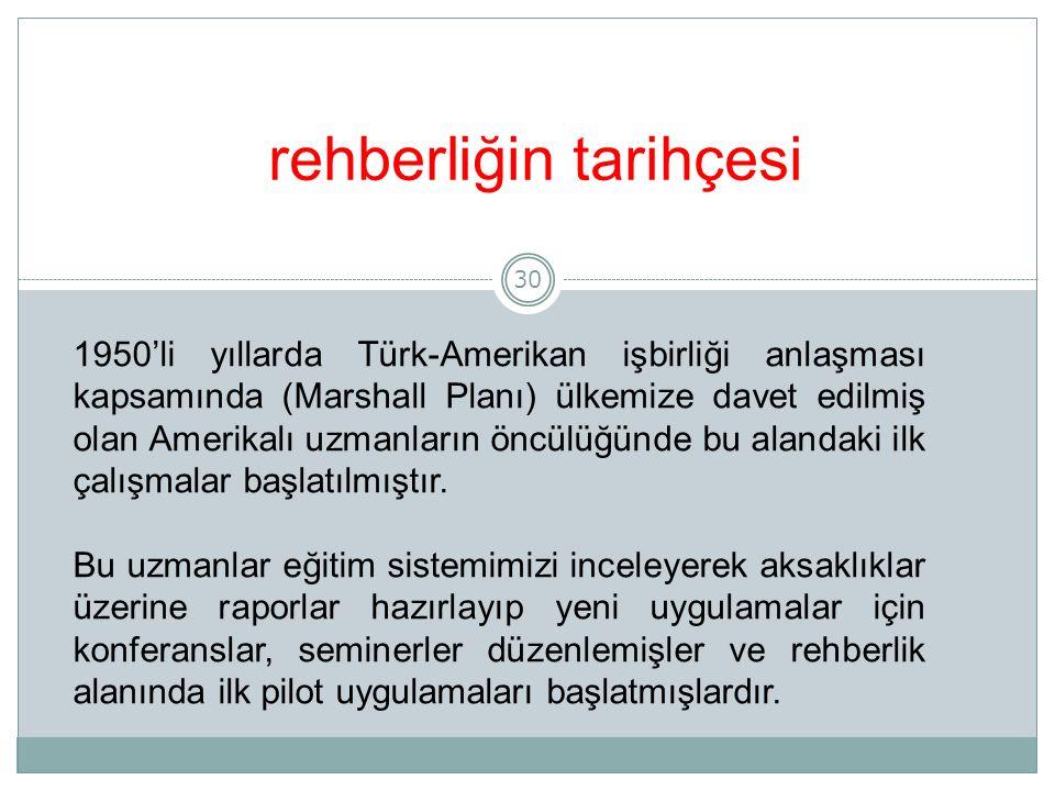 30 rehberliğin tarihçesi 1950'li yıllarda Türk-Amerikan işbirliği anlaşması kapsamında (Marshall Planı) ülkemize davet edilmiş olan Amerikalı uzmanların öncülüğünde bu alandaki ilk çalışmalar başlatılmıştır.