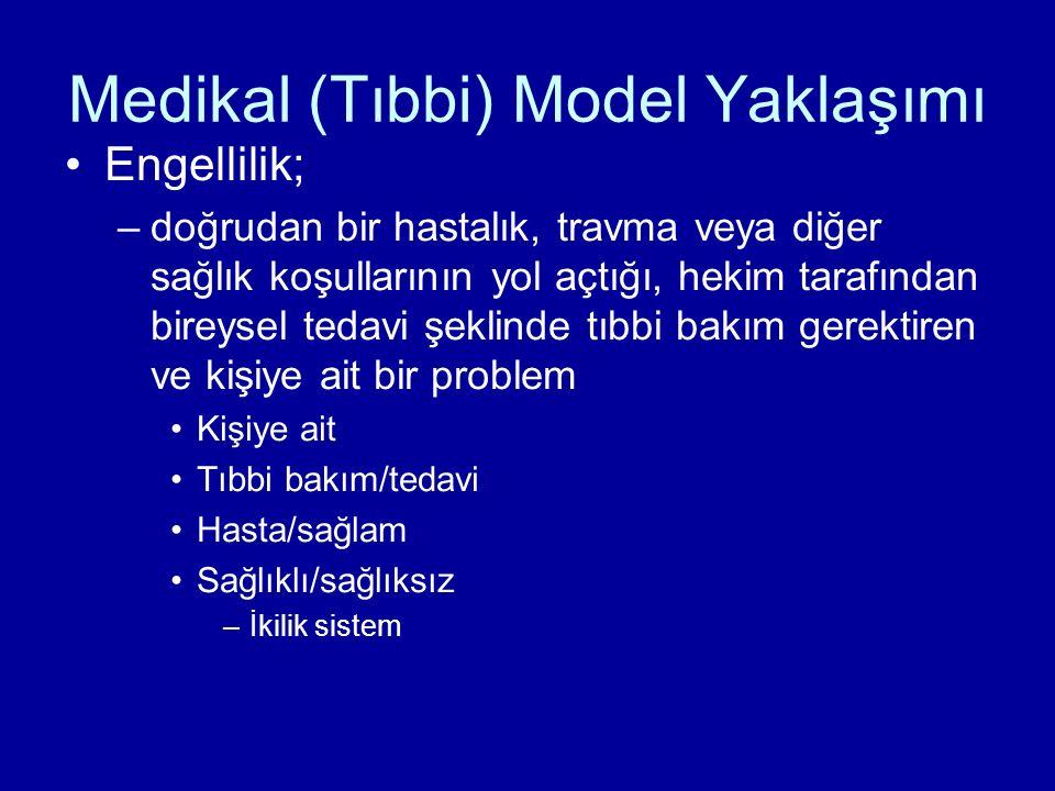 Medikal (Tıbbi) Model Yaklaşımı Engellilik; –doğrudan bir hastalık, travma veya diğer sağlık koşullarının yol açtığı, hekim tarafından bireysel tedavi şeklinde tıbbi bakım gerektiren ve kişiye ait bir problem Kişiye ait Tıbbi bakım/tedavi Hasta/sağlam Sağlıklı/sağlıksız –İkilik sistem