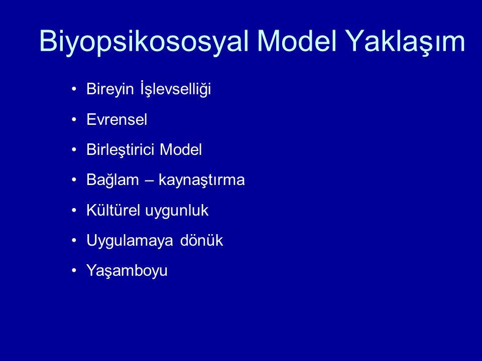 Biyopsikososyal Model Yaklaşım Bireyin İşlevselliği Evrensel Birleştirici Model Bağlam – kaynaştırma Kültürel uygunluk Uygulamaya dönük Yaşamboyu