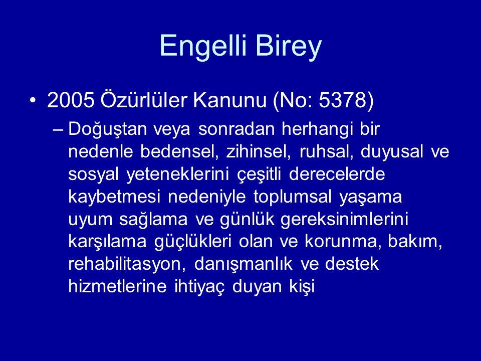 Engelli Birey 2005 Özürlüler Kanunu (No: 5378) –Doğuştan veya sonradan herhangi bir nedenle bedensel, zihinsel, ruhsal, duyusal ve sosyal yeteneklerin