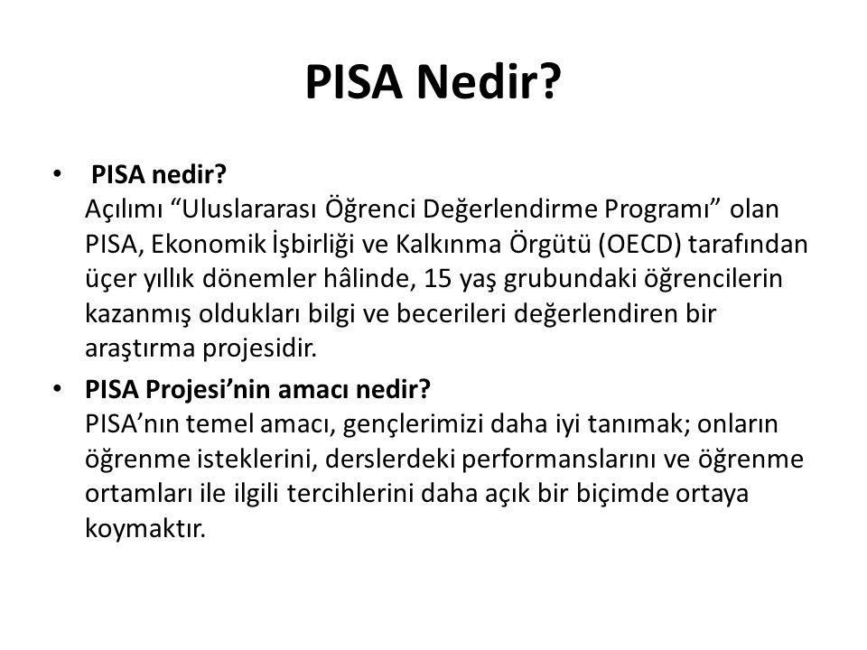 """PISA Nedir? PISA nedir? Açılımı """"Uluslararası Öğrenci Değerlendirme Programı"""" olan PISA, Ekonomik İşbirliği ve Kalkınma Örgütü (OECD) tarafından üçer"""