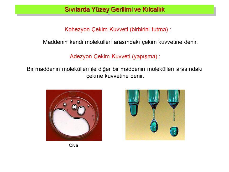 Sıvılarda Yüzey Gerilimi ve Kılcallık Kohezyon Çekim Kuvveti (birbirini tutma) : Maddenin kendi molekülleri arasındaki çekim kuvvetine denir. Adezyon