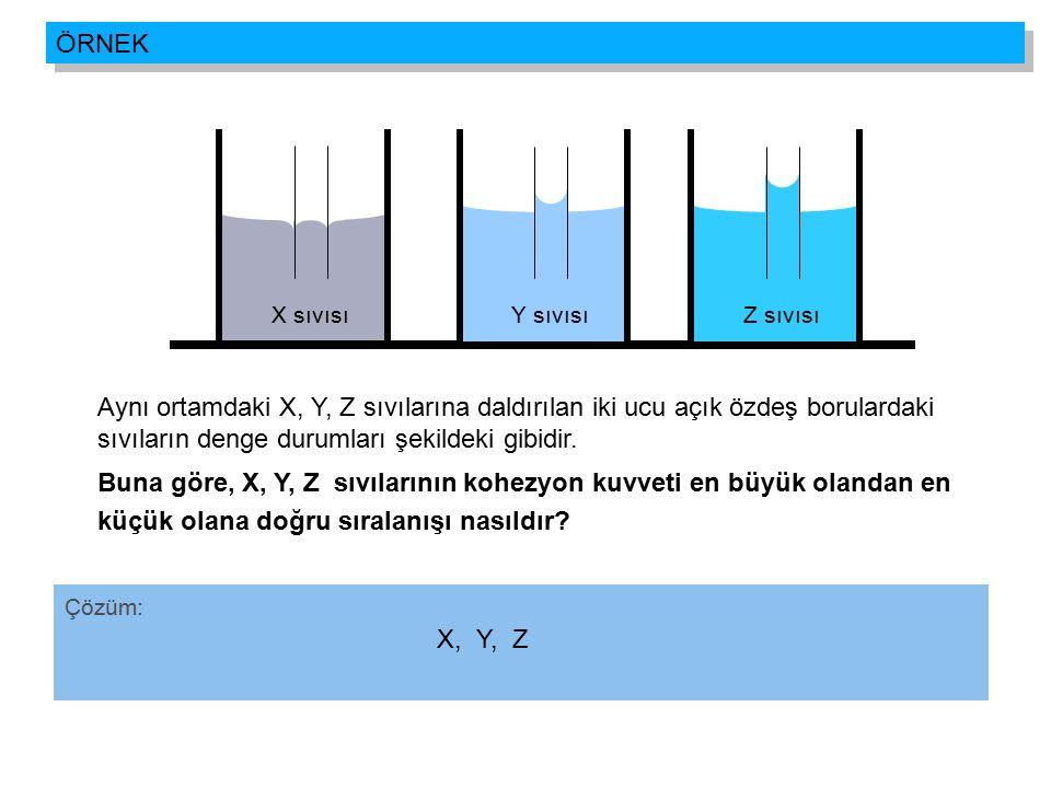 Aynı ortamdaki X, Y, Z sıvılarına daldırılan iki ucu açık özdeş borulardaki sıvıların denge durumları şekildeki gibidir. Buna göre, X, Y, Z sıvılarını