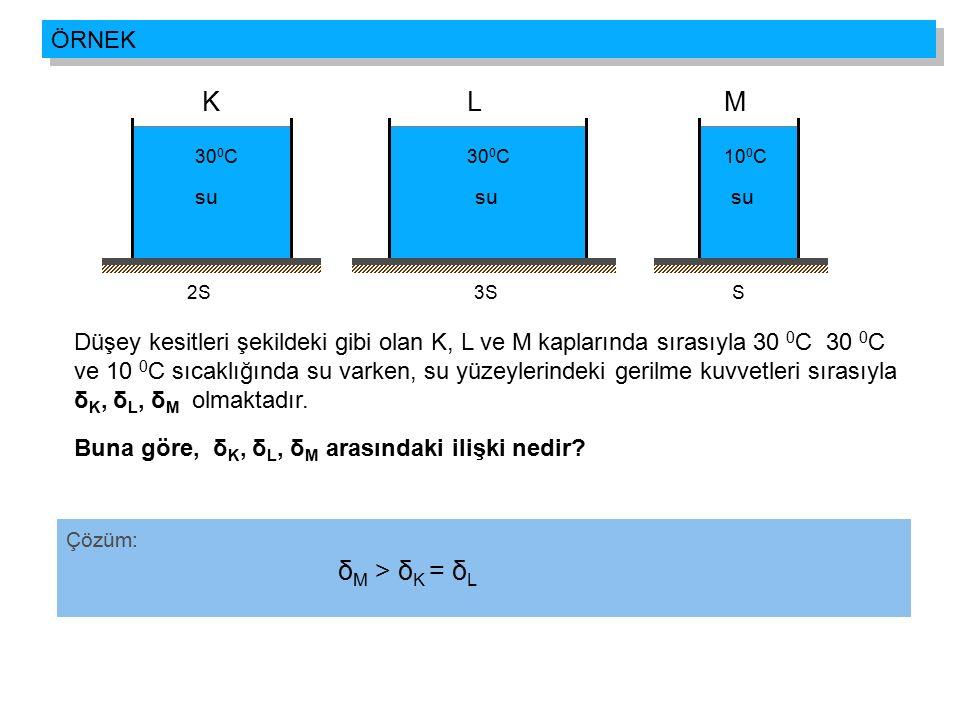 su KLM 30 0 C10 0 C30 0 C 2S3SS Çözüm: Düşey kesitleri şekildeki gibi olan K, L ve M kaplarında sırasıyla 30 0 C 30 0 C ve 10 0 C sıcaklığında su vark