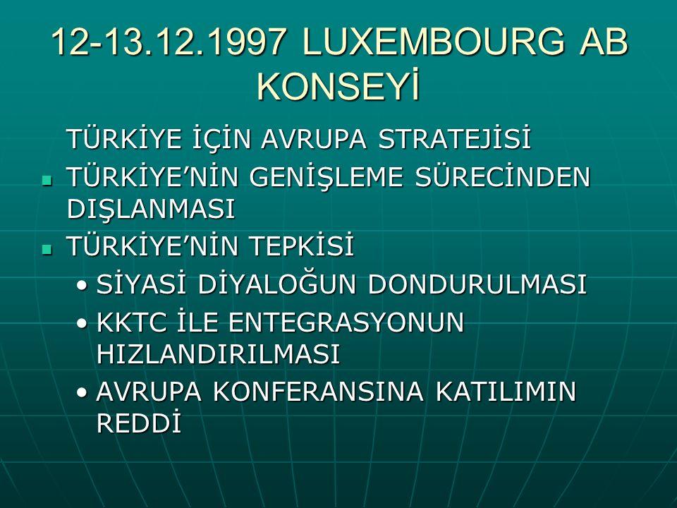 12-13.12.1997 LUXEMBOURG AB KONSEYİ TÜRKİYE İÇİN AVRUPA STRATEJİSİ TÜRKİYE'NİN GENİŞLEME SÜRECİNDEN DIŞLANMASI TÜRKİYE'NİN GENİŞLEME SÜRECİNDEN DIŞLANMASI TÜRKİYE'NİN TEPKİSİ TÜRKİYE'NİN TEPKİSİ SİYASİ DİYALOĞUN DONDURULMASISİYASİ DİYALOĞUN DONDURULMASI KKTC İLE ENTEGRASYONUN HIZLANDIRILMASIKKTC İLE ENTEGRASYONUN HIZLANDIRILMASI AVRUPA KONFERANSINA KATILIMIN REDDİAVRUPA KONFERANSINA KATILIMIN REDDİ