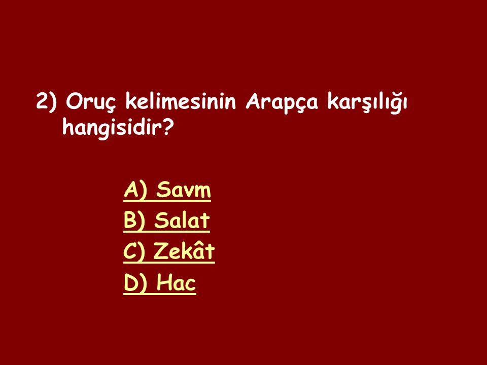 1) Kültürümüzde on bir ayın sultanı olarak bilinen ay hangisidir.